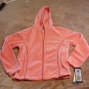 NWT Columbia zip up hoodie, size L, peach colored